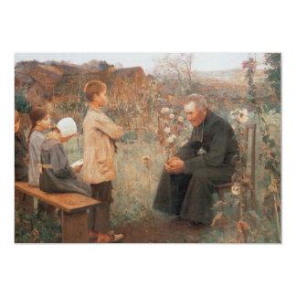 Arte cristiano la lección del catecismo invitación 12,7 x 17,8 cm