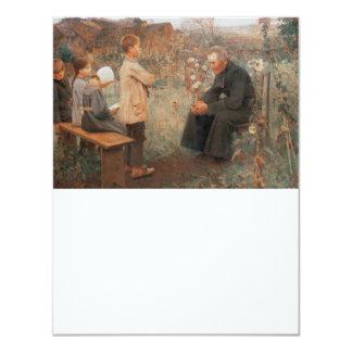 Arte cristiano la lección del catecismo invitación 10,8 x 13,9 cm