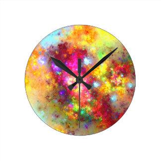 arte crudo del fractal reloj redondo mediano