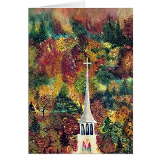 Arte cruzado de la acuarela del otoño de Vermont d Tarjeta De Felicitación