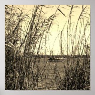 Arte cuadrado de la lona: Paseo del barco de la se Póster
