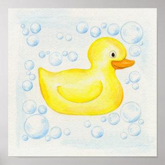 Arte cuadrado Ducky de goma del cuarto de baño Póster