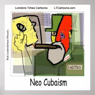 Arte cubista divertido Castro Poster