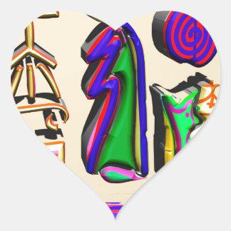 arte curativo del símbolo de 3D Reiki Pegatina En Forma De Corazón