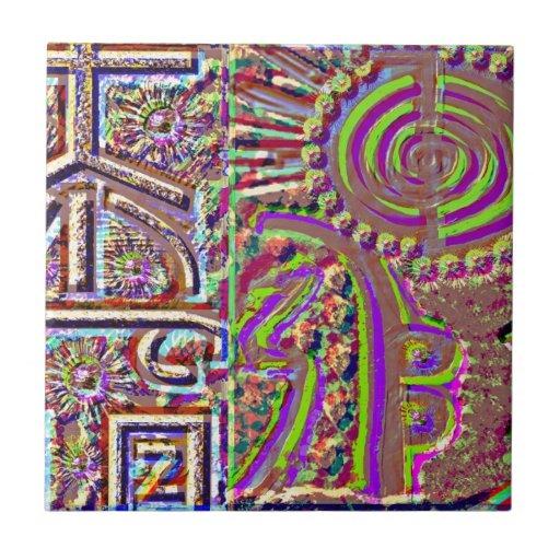 Arte curativo grabado estilo del VINTAGE Azulejo Cuadrado Pequeño