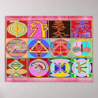 Arte curativo puro de REIKI - 12 símbolos Póster