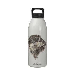 Arte curioso lindo del animal de la acuarela de la botella de beber