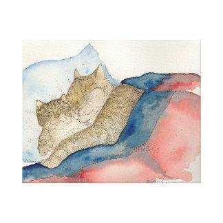 Arte de abrazo del gatito de la madre y del bebé impresión en lona estirada
