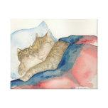 Arte de abrazo del gatito de la madre y del bebé lona estirada galerias