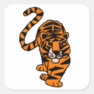 Arte de acecho artístico del tigre pegatina cuadrada