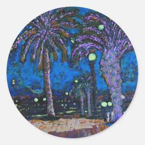 Arte de acrílico de la pintura de las palmeras de pegatina redonda