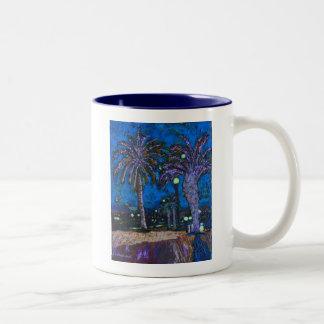 Arte de acrílico de la pintura de las palmeras de taza de dos tonos
