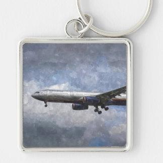 Arte de Aeroflot Airbus A330 Llavero Cuadrado Plateado