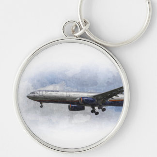 Arte de Aeroflot Airbus A330 Llavero Redondo Plateado