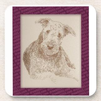 Arte de Airedale Terrier extraído solamente de pal Posavasos De Bebida