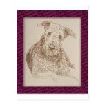 Arte de Airedale Terrier extraído solamente de pal Tarjeta Postal