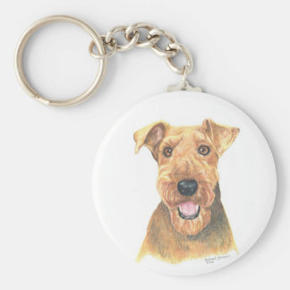 Arte de Airedale Terrier Llavero Redondo Tipo Pin