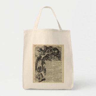 Arte de Alicia y de la plantilla de Cheshire en la Bolsa Tela Para La Compra