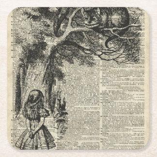 Arte de Alicia y de la plantilla de Cheshire en la Posavasos Desechable Cuadrado