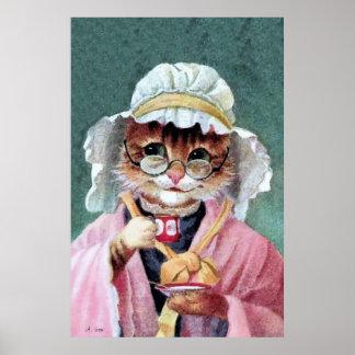 Arte de Anthropomorphist, gato de la abuelita Póster