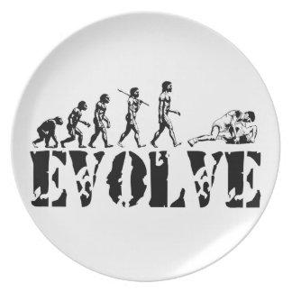 Arte de ataque de lucha de la evolución de los dep platos de comidas