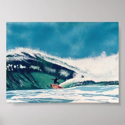 Arte de Baja California de la onda del mar verde d Poster