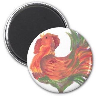Arte de cacareo del gallo del país colorido imán redondo 5 cm