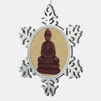 Arte de caoba del pixel de Buda Adorno De Peltre En Forma De Copo De Nieve