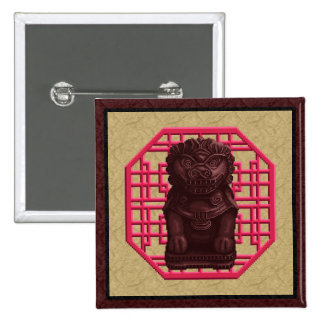 Arte de caoba del pixel del perro del león pin cuadrada 5 cm