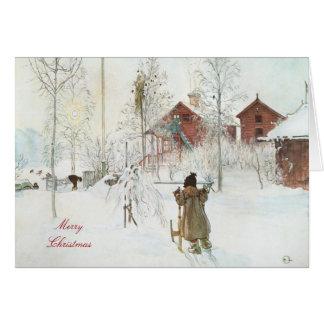 Arte de Carl Larsson de las Felices Navidad Tarjeta De Felicitación