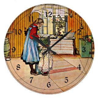 Arte de Carl Larsson: La cocina Reloj Redondo Grande