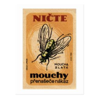 Arte de Checo de la mosca de la casa de Mouchy Tarjeta Postal