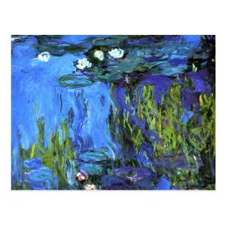 Arte de Claude Monet: Agua-Lirios, añil azul Tarjetas Postales