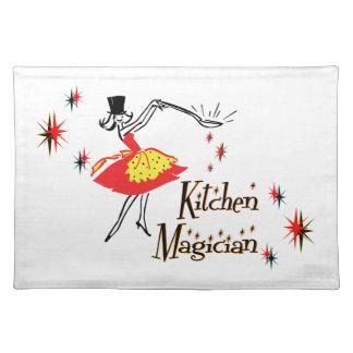 Arte de cocinar retro del mago de la cocina mantel individual