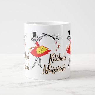 Arte de cocinar retro del mago de la cocina taza grande