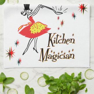 Arte de cocinar retro del mago de la cocina toalla de mano