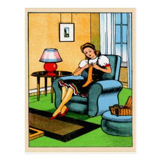 Arte de costura del kitsch del vintage del chica q tarjeta postal