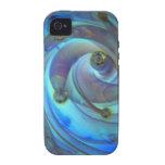Arte de cristal azul abstracto de la burbuja de Oc Case-Mate iPhone 4 Carcasa