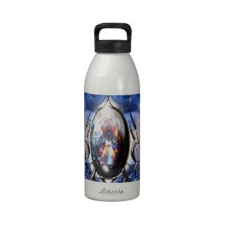 Arte de cristal azul adornado de lujo del botella de beber
