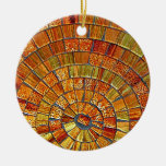 Arte de cristal de la teja del Balinese - Brown Adorno Navideño Redondo De Cerámica