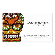 Arte de cuerpo del cráneo del azúcar plantillas de tarjeta de negocio