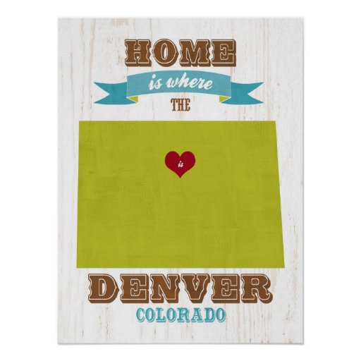 Arte de Denver del amor del arte del mapa del esta Poster