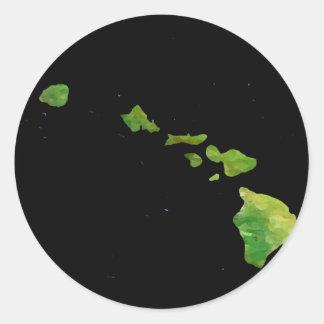 Arte de Digial de la cadena de la isla de Hawaii Pegatina Redonda