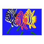 Arte de Digitaces de los pescados en vuelo por Gra Lienzo Envuelto Para Galerías