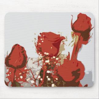 Arte de Digitaces de los rosas rojos Alfombrilla De Ratones