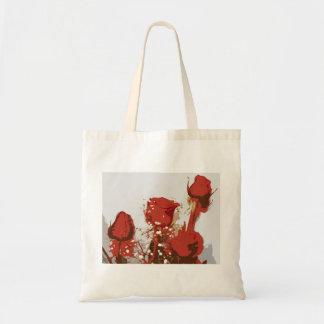 Arte de Digitaces de los rosas rojos Bolsas Lienzo