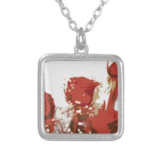Arte de Digitaces de los rosas rojos Colgante Cuadrado