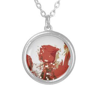 Arte de Digitaces de los rosas rojos Colgante Redondo