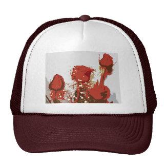 Arte de Digitaces de los rosas rojos Gorras