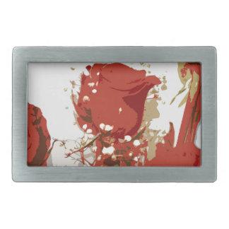 Arte de Digitaces de los rosas rojos Hebilla De Cinturon Rectangular